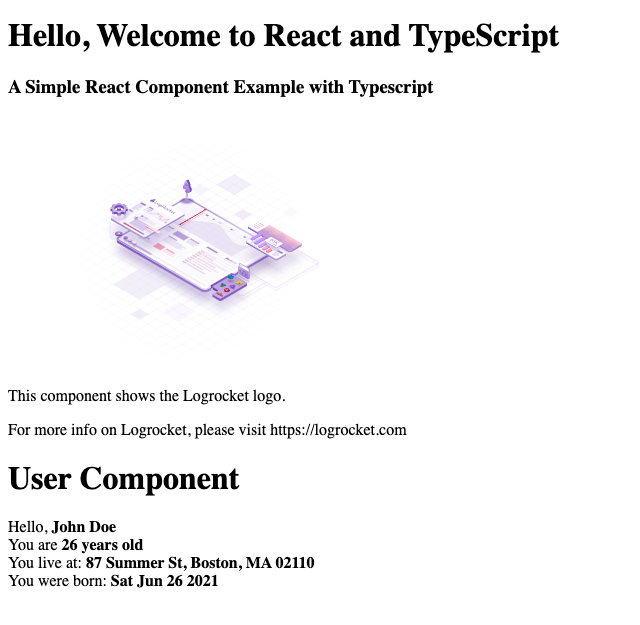 React and TypeScript User Component Example