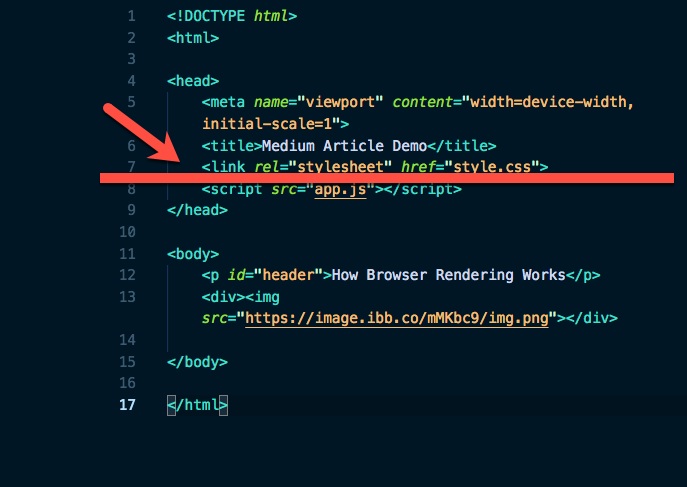 Screenshot of code Where the DOM construction is halted