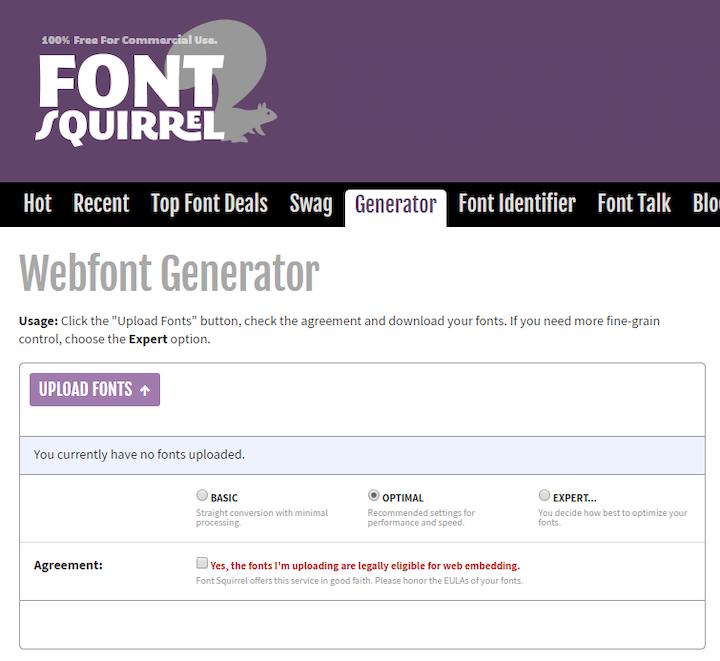Font Squirrel Webfont Generator Tool