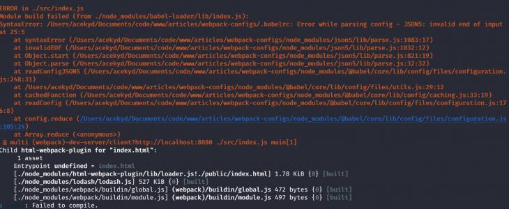 webpack babel compilation errors