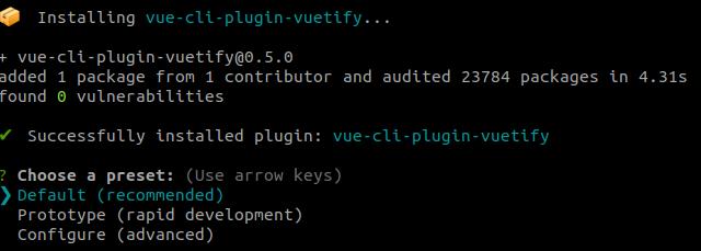 Installing vue-cli-plugin-vuetify