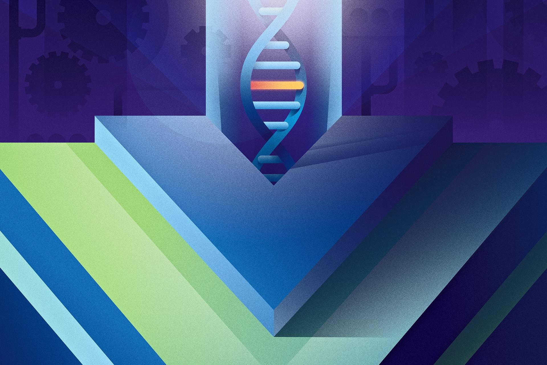 Vue Logo With DNA Strand Mutation