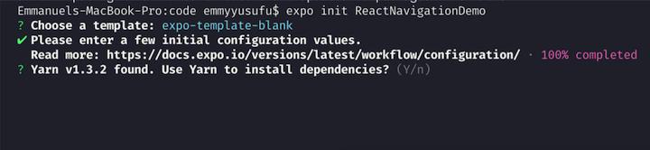 React Navigation Example: Choosing Expo Template