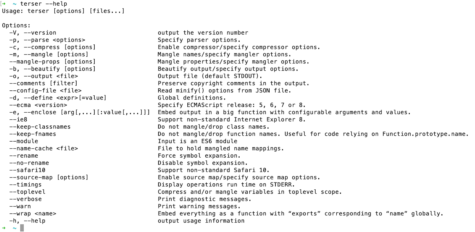 Terser Command Line Options