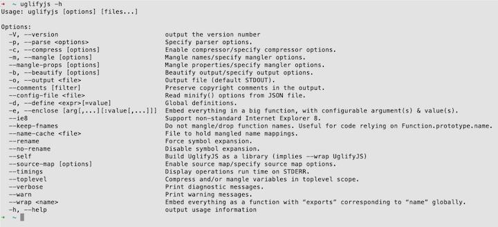 UglifyJS Command Line Options