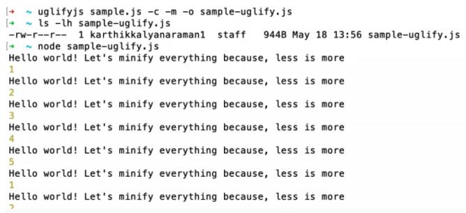 UglifyJS Output File Size