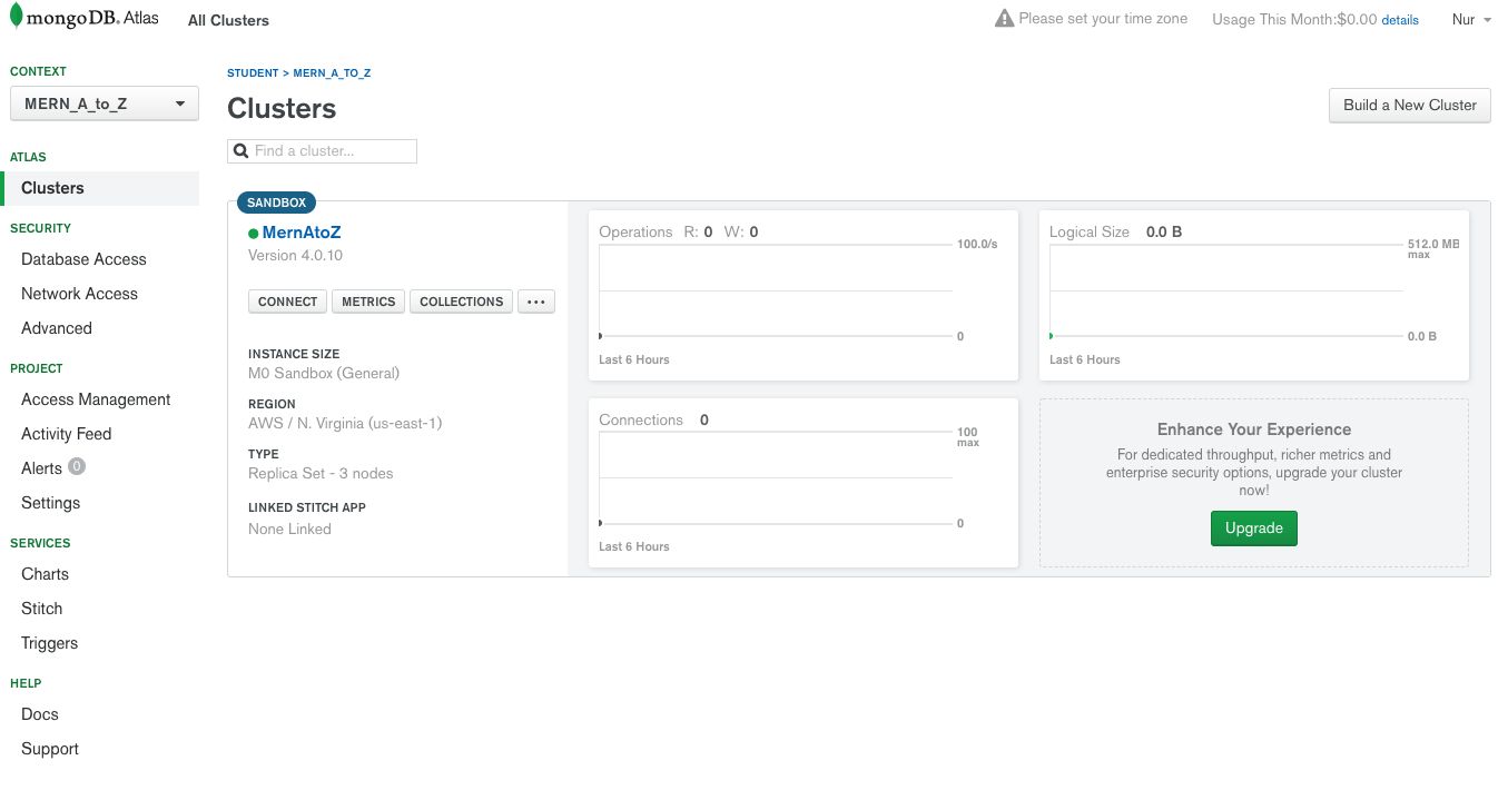 Creating A Cluster In MongoDB Atlas