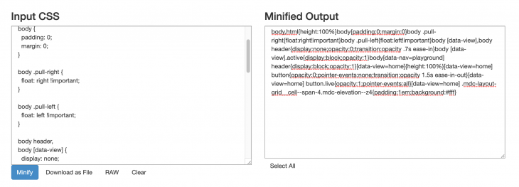 Minified Output From CSS Minifier