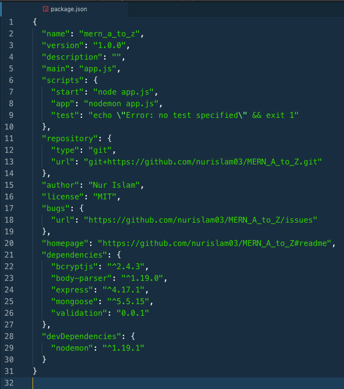 package.json File With Dependencies