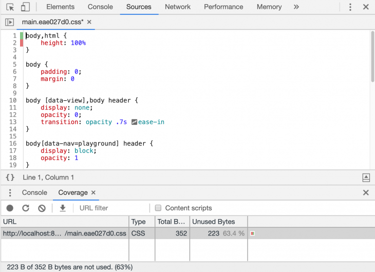 Purged Minified CSS In DevTools