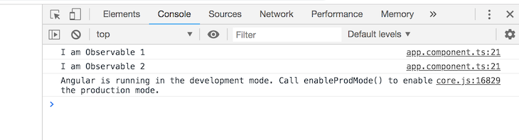 Observables In A Console