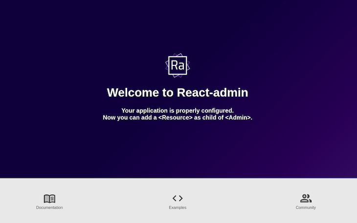 React-admin default page