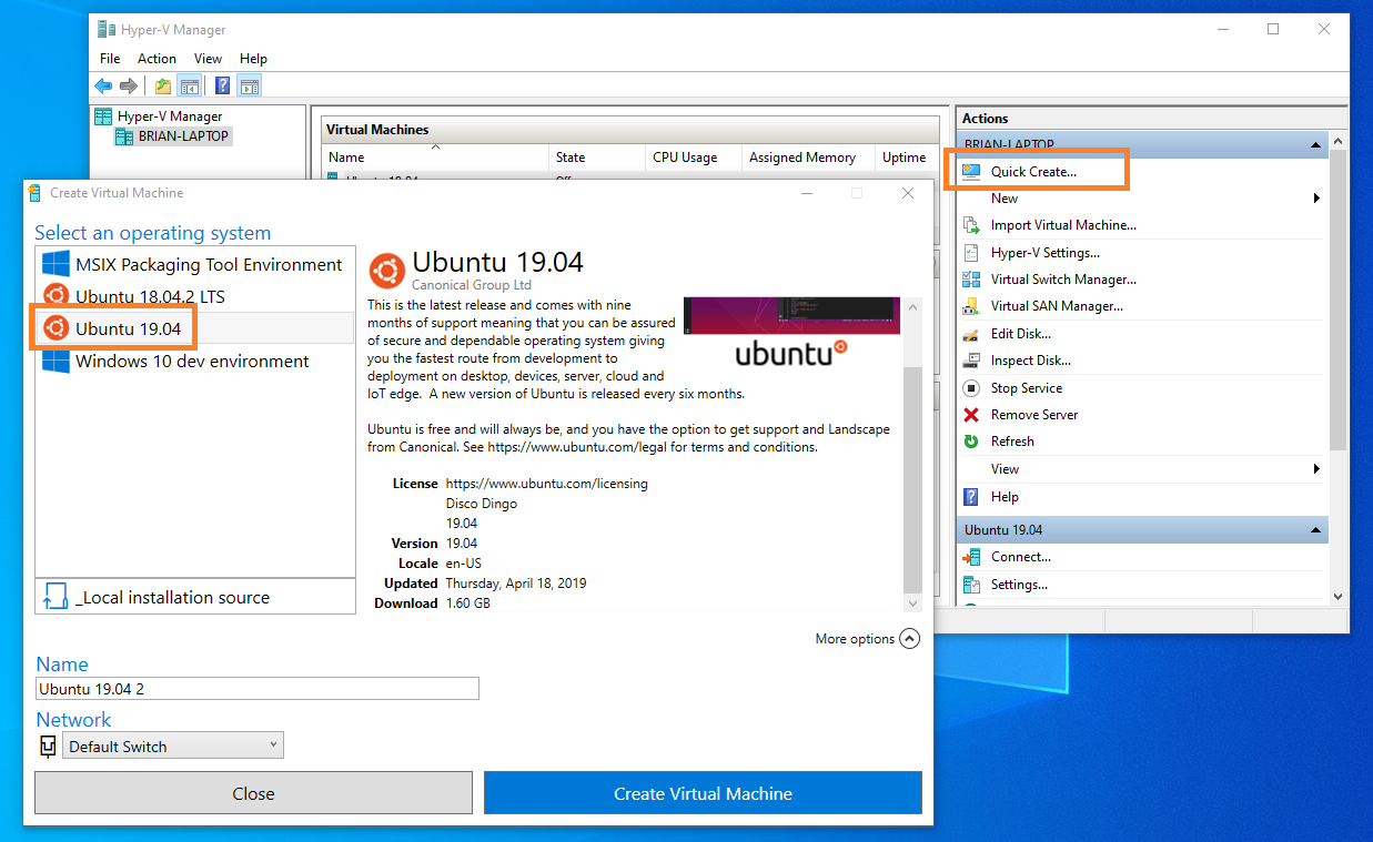 Ubuntu 19.04 Hyper-V Quick Create virtual machine