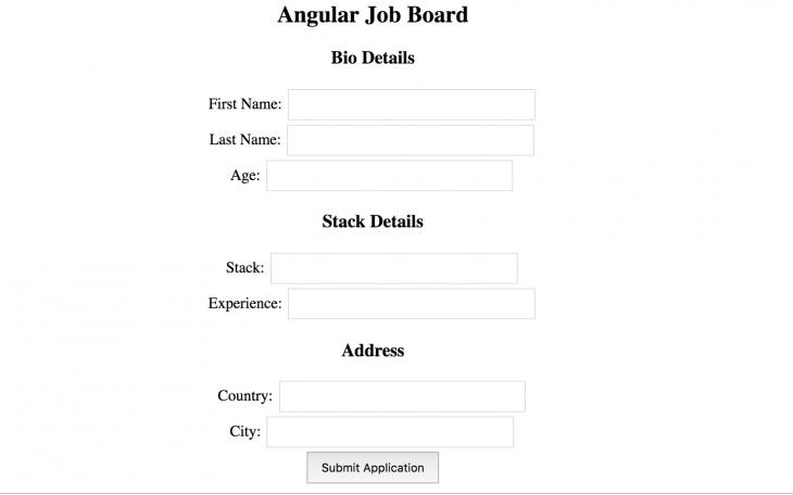 Angular Job Board Form Bio