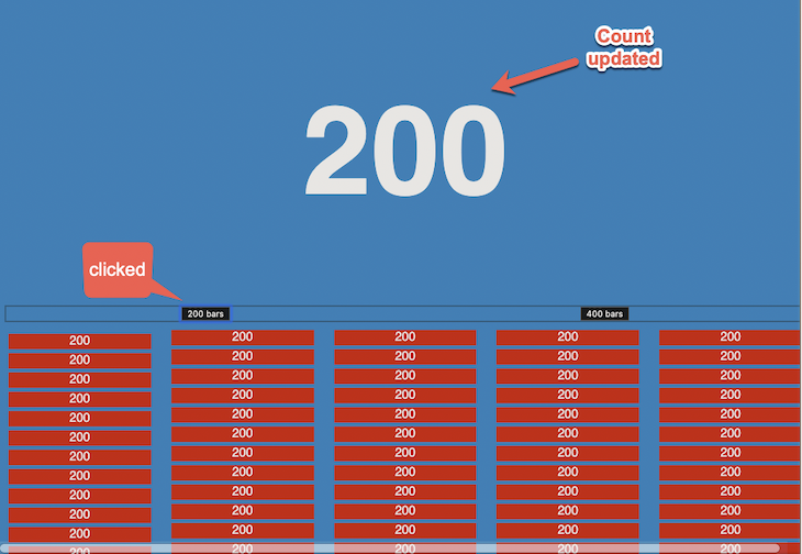 App Rendering With Count State of 200