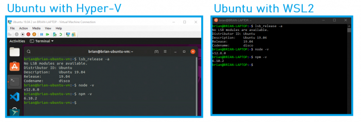 A screenshot of Ubuntu running on Hyper-V compared to the program on WSL2