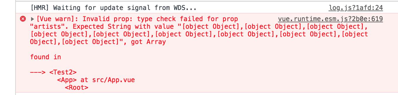unexpected type error using props in Vue