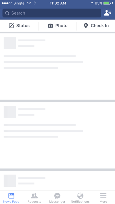 An example of facebook with a skeleton UI