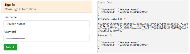SIgn-In Form With JWT Decoded In State