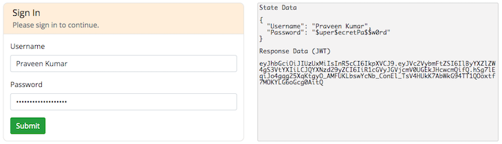 Sign-In Form With Generated JWT
