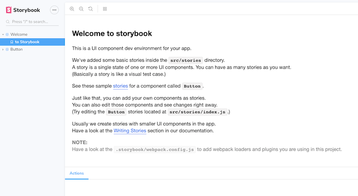 Storybook's Default Welcome Component