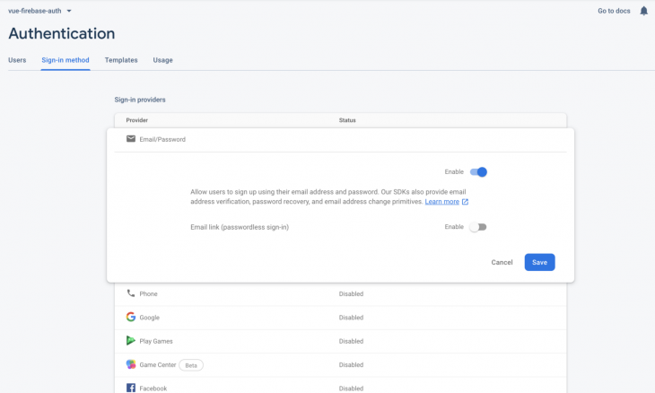Firebase-Vue-authentication-email password
