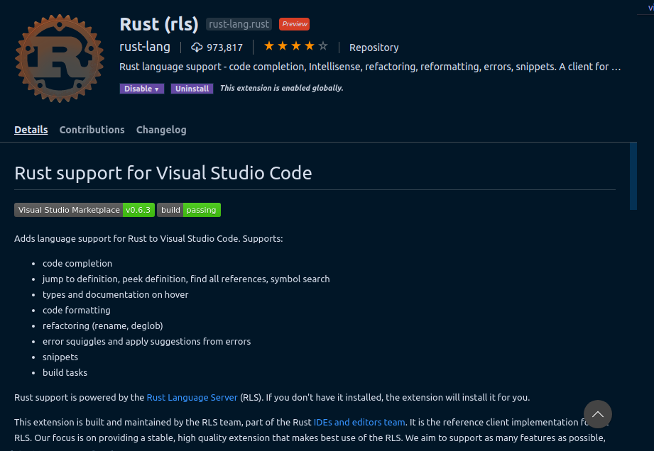 Rust support for Visual Studio Code