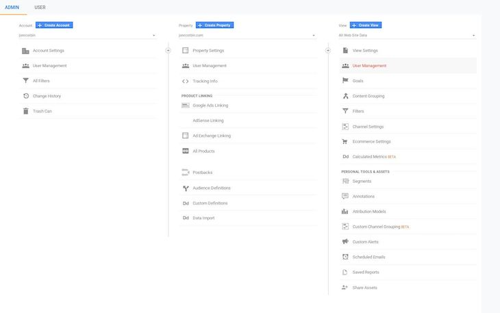 Google Analytics User Management