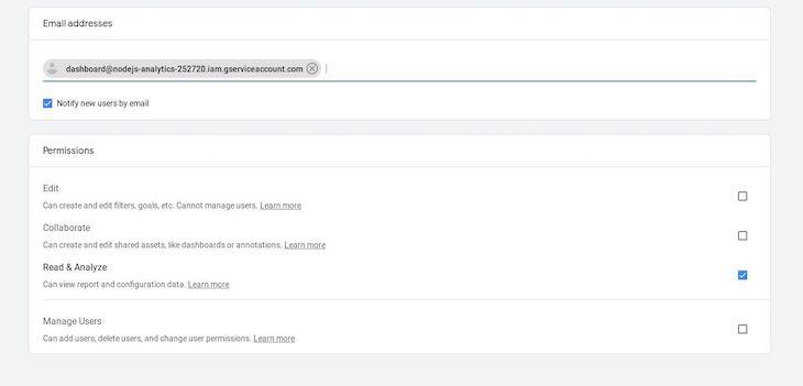 Google Analytics User Permissions Options