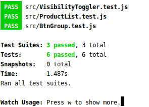 Screenshot of three complete passed test