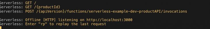 serverless node start output