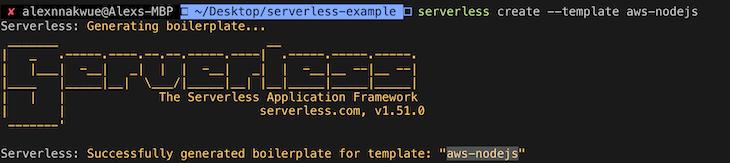 serverless node output template files
