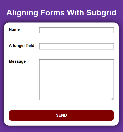 Form Inputs Aligned With Subgrid