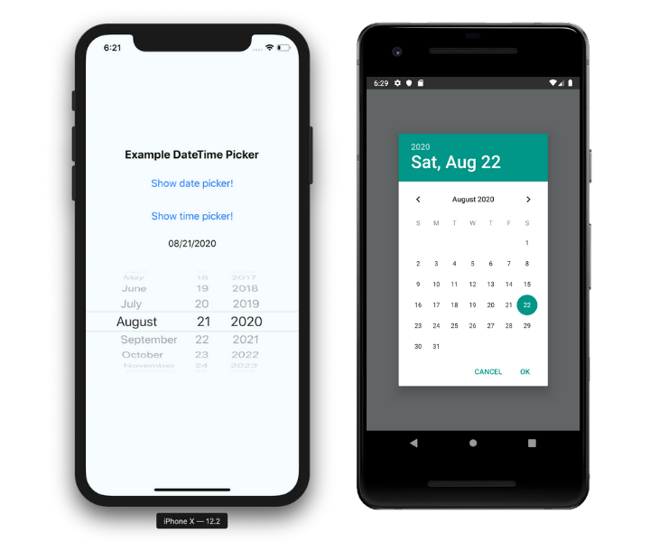 React native datepicker iOS Versus Android