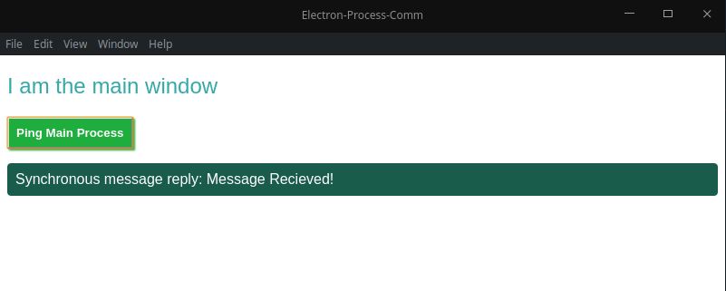 main window showing message was recieved