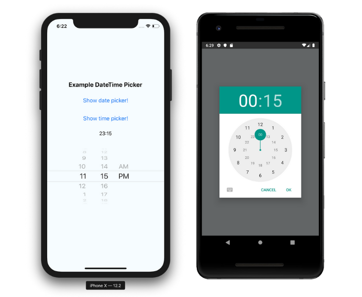 React native time pickers, iOS Versus Android