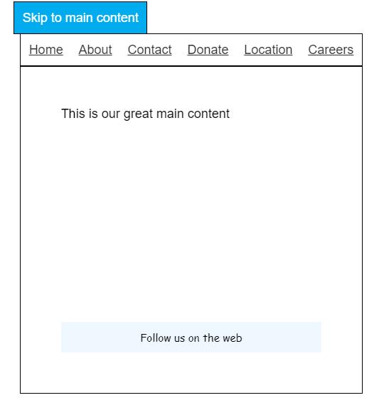 Skip Link on Simple Website Example
