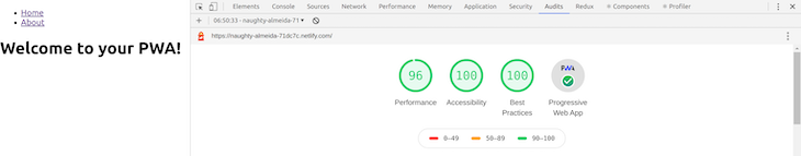 Building PWA with React Chrome DevTools Audit Score