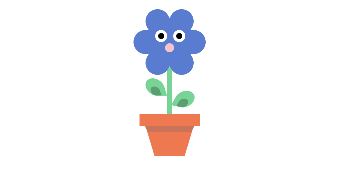 Pure CSS flower in the pot