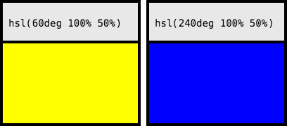 HSL Values Displaying Yellow And Blue
