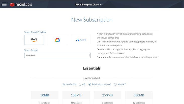 Creating A New Redis Labs Subscription