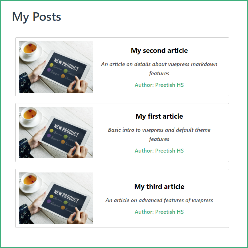 VuePress Posts Page Dynamically Populated with Frontmatter