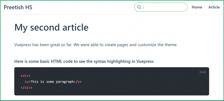 VuePress Second Article Page