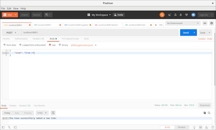 Adding a New Item to To-Do Database to Test nanoSQL-Powered API