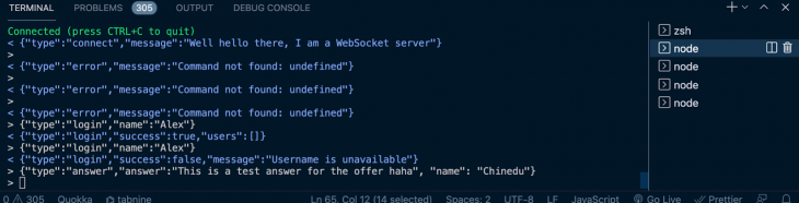 WebRTC chat app answer event type server