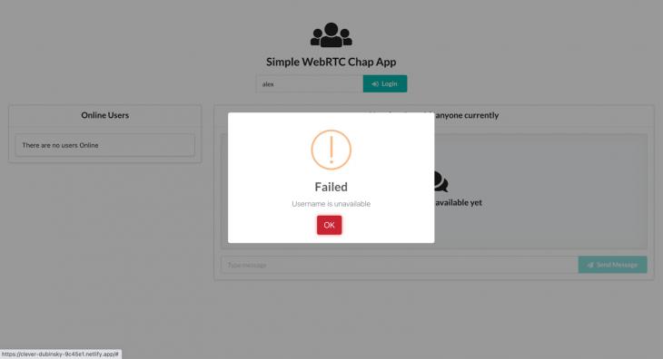 WebRTC chat app failed login