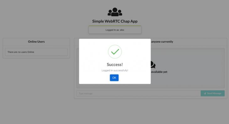WebRTC chat app login success