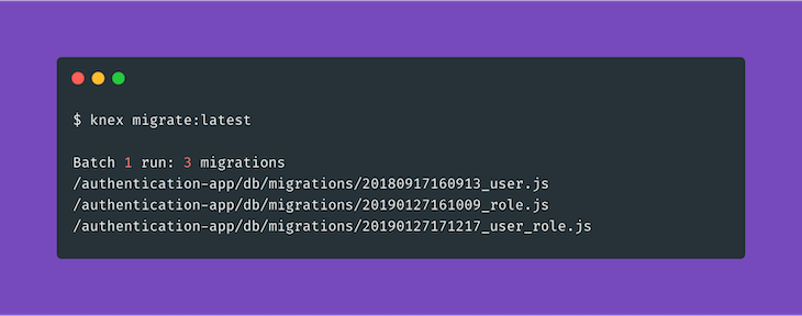 Running Migrations for Our Authentication Application