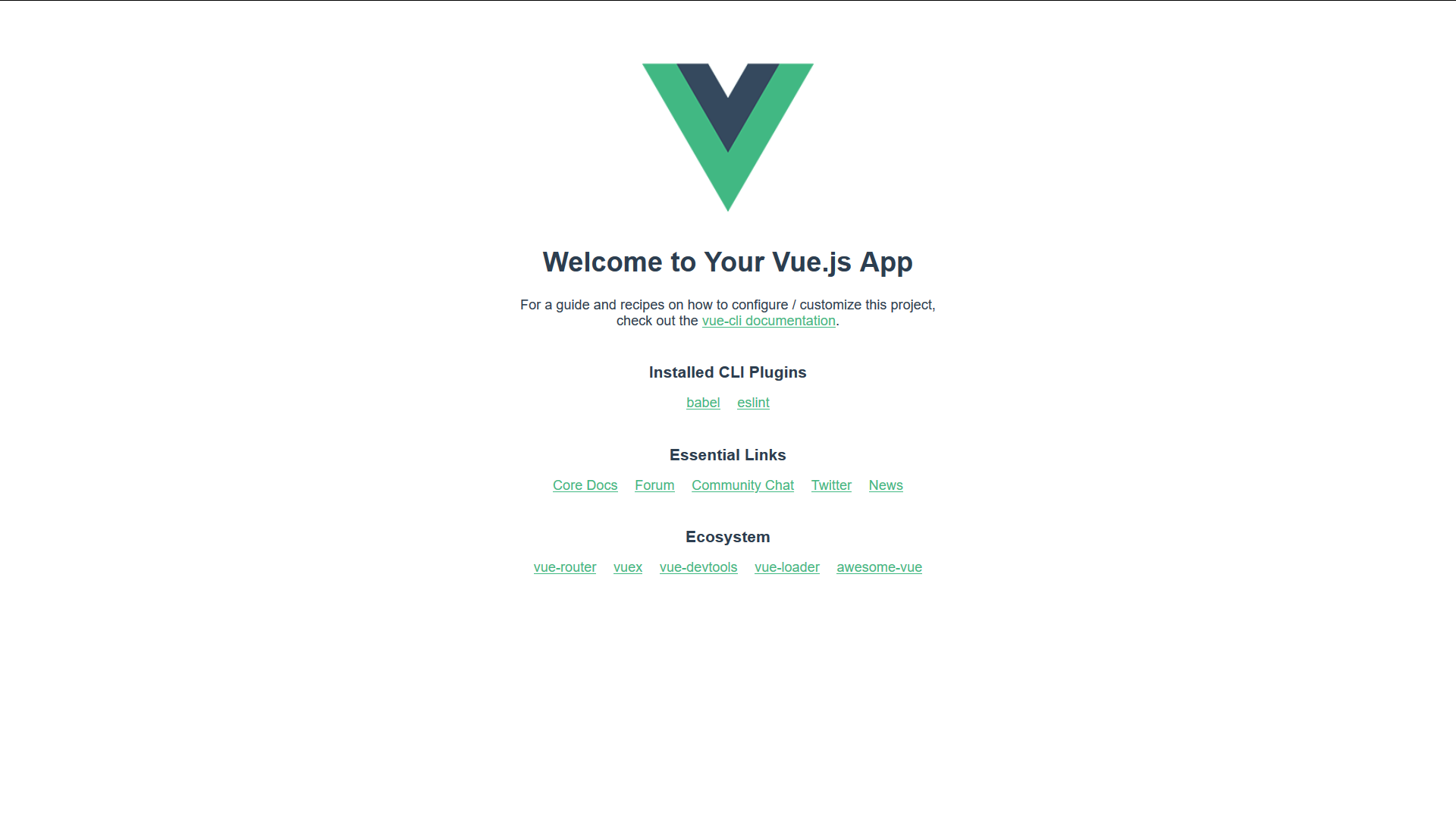 An image of the Vue starter page.