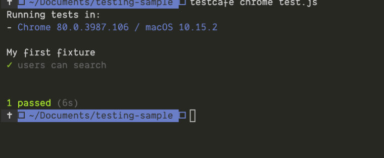 An example of the output of a test on TestCafe to a console .